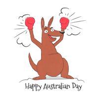 Canguro sveglio con i guanti di inscatolamento al giorno dell'Australia vettore