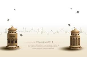 saluti islamici ramadan kareem card design con lanterne d'oro vettore