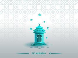 saluti islamici eid mubarak card design template con lanterna blu vettore