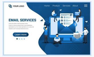 modello di pagina di destinazione dell'email marketing, servizi di mailing con persone che lavorano sul dispositivo. moderno concetto di design di pagina web piatta per sito Web e sito Web mobile. illustrazione vettoriale