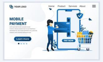 illustrazione vettoriale di pagamento mobile o concetto di trasferimento di denaro con una donna che effettua una transazione di pagamento. design moderno modello di pagina di destinazione web piatto per sito Web e sito Web mobile. stile cartone animato piatto