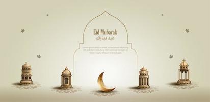 saluto islamico eid mubarak card design con bellissime lanterne d'oro e falce di luna vettore