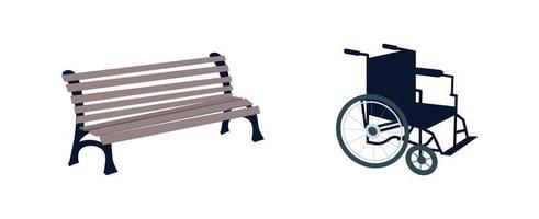 set di oggetti per sedia a rotelle e panca vettore