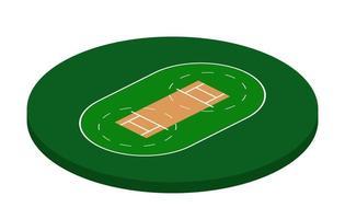 campo da cricket in vista isometrica, illustrazione vettoriale stadio di cricket su sfondo bianco