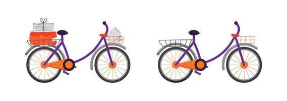 set di oggetti piatti bicicletta corriere vettore