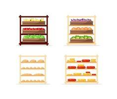 vendita di cibo piatto oggetti vettoriali set