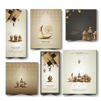 set di saluti islamici ramadan kareem card design vettore