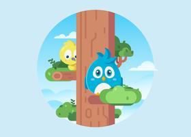 Uccelli carini in un'illustrazione dell'albero