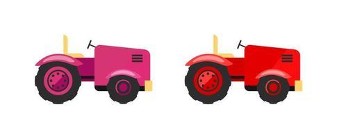 set di oggetti vettoriali piatti di trattori