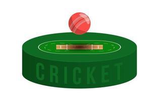 campo da cricket e palla con ombra in vista isometrica, illustrazione vettoriale stadio di cricket su sfondo bianco