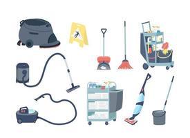 set di oggetti piatti di forniture per pulizie