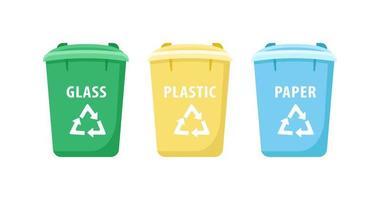 set di oggetti di grandi contenitori per il riciclaggio vettore