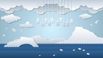 Vettore libero del paesaggio di arte della carta dell'Antartide