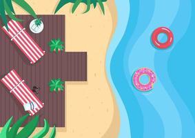 illustrazione di vettore di colore piatto vacanze al mare