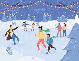 illustrazione vettoriale semi piatto di pista di pattinaggio sul ghiaccio di Natale