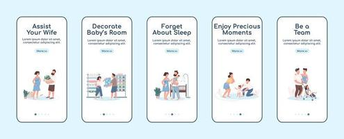 giovani genitori onboarding mobile app schermo piatto template vettoriale