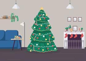 Natale a casa illustrazione vettoriale di colore piatto