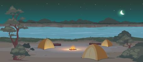 campeggio di notte illustrazione vettoriale di colore piatto