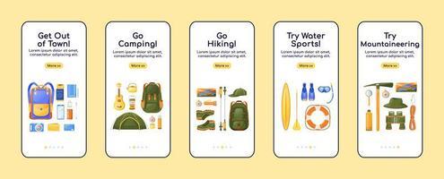 modello di vettore piatto dello schermo dell'app mobile di onboarding delle attrezzature di viaggio