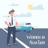 modello di post di social media pilota di aeroplano femminile vettore