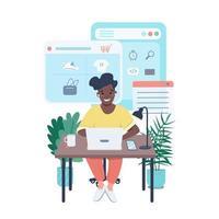 donna che fa il carattere dettagliato di vettore di colore piatto dello shopping online