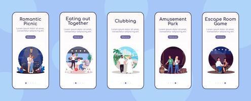 date creative onboarding modello di vettore piatto dello schermo dell'app mobile