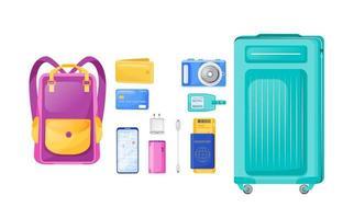 set di oggetti vettoriali a colori piatti essenziali di volo