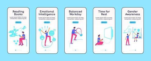 modello di vettore piatto della schermata dell'app mobile di onboarding psicologicamente equilibrato