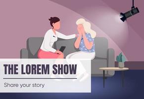 talk show banner modello piatto vettoriale