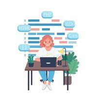 carattere dettagliato di vettore di colore piatto programmatore femminile