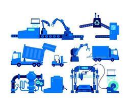 set di oggetti vettoriali di colore piatto di apparecchiature di produzione