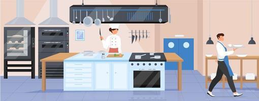 illustrazione di vettore di colore piatto cucina ristorante