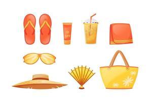 set di oggetti vettoriali a colori piatti essenziali per prendere il sole