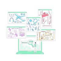illustrazione di vettore di concetto di linea sottile di ricerca di lavoro