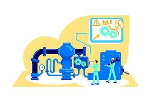 automatizzazione dell'illustrazione di vettore di concetto piatto macchine