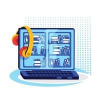 portatile con oggetto vettoriale a colori piatto piattaforma ebook