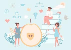 concetto piatto di stile di vita sano delle donne vettore