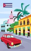 auto d'epoca rossa nel modello di vettore piatto del manifesto dell'Avana