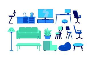 mobili per oggetti vettoriali di colore piatto casa intelligente impostati