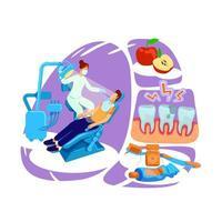 illustrazione di vettore di concetto piatto visita dentista