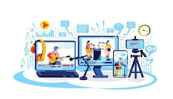 illustrazione di vettore di concetto piatto creazione di contenuti online