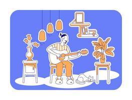 suonare la chitarra illustrazione vettoriale silhouette piatta