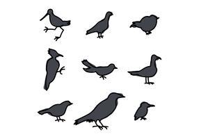 Sagome Di Uccelli vettore