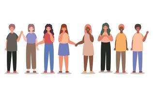 cartoni animati di donne e uomini felici disegno vettoriale