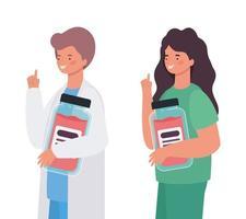 donna e uomo medico con uniformi e disegno vettoriale vaso di medicina
