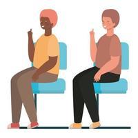 cartoni animati di uomini felici seduti sui sedili disegno vettoriale