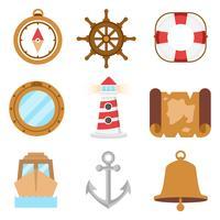Vela libera e icone nautiche vettoriali