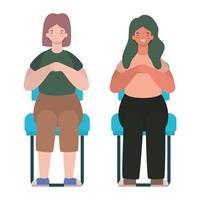 cartoni animati di donne felici seduti sui sedili disegno vettoriale
