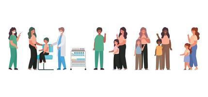 medici maschi e femmine che vaccinano bambini e madri disegno vettoriale