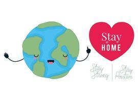 cartone animato mondo kawaii e rimani a casa disegno vettoriale di testo forte e positivo